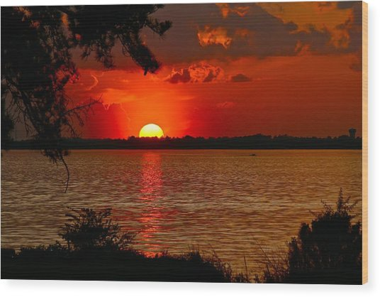 Mississippi Sunset 3 Wood Print
