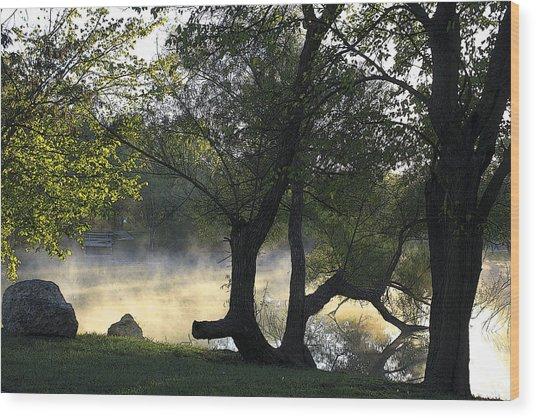 Mist On The Water Wood Print