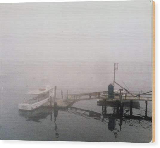 Misty Harbor Rye Beach Wood Print by Anthony Ross
