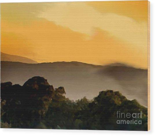 Misty Horizon Wood Print