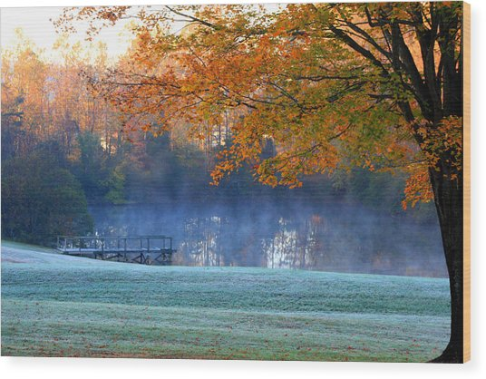 Misty Morning At The Lake Wood Print