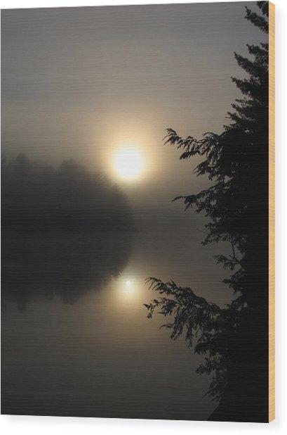 Misty Sunrise Wood Print by Waldemar Okon