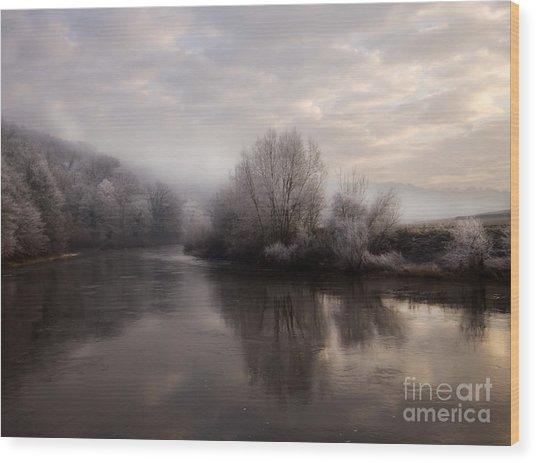 Misty Sunset Wood Print by Angel Ciesniarska