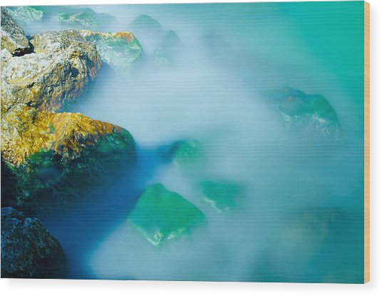 Misty Water Wood Print