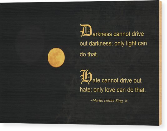 Mlk And A Yellow Moon Wood Print by Andrea  OConnell