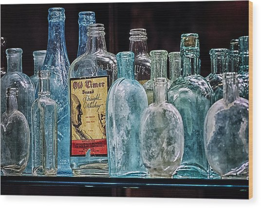 Mob Museum Whiskey Bottles Wood Print by Sandra Welpman