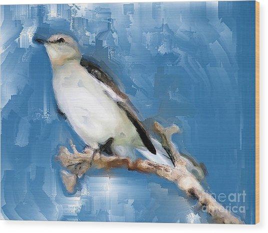 Mocking Bird In Blue Wood Print