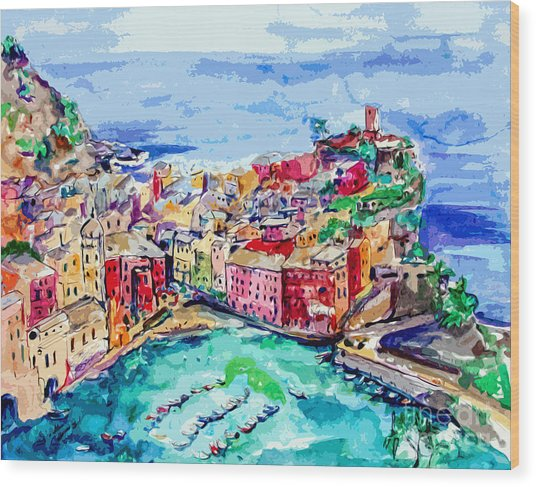 Modern Abstract Vernazza Italy Cinque Terre Wood Print