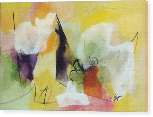 Modern Art With Yellow Black Red And Fanciful Clouds Wood Print