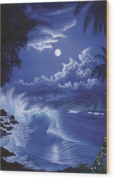Molokai Moonlight Wood Print