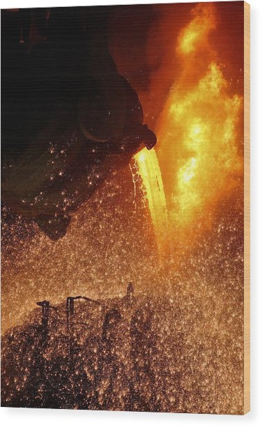 Molten Metal Being Poured From A Vat Wood Print by Ria Novosti