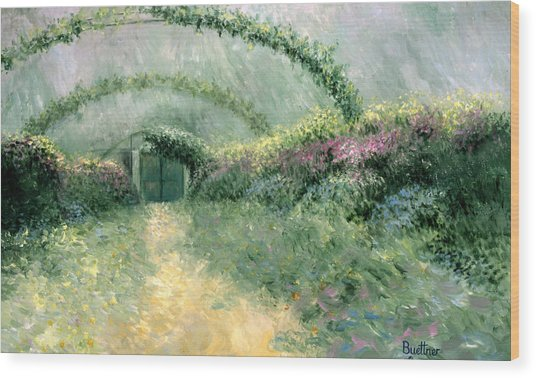 Monet's Trellis IIi Wood Print