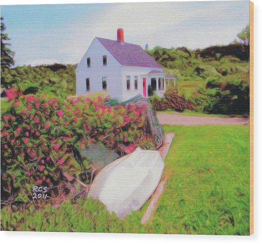 Monhegan Cottage Wood Print