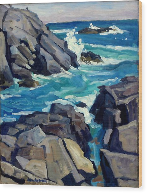 Monhegan Surf Maine Seascape Wood Print