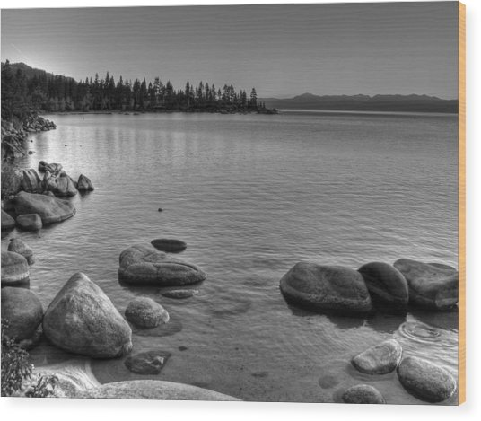 Monochrome Lake Tahoe Sunset Wood Print