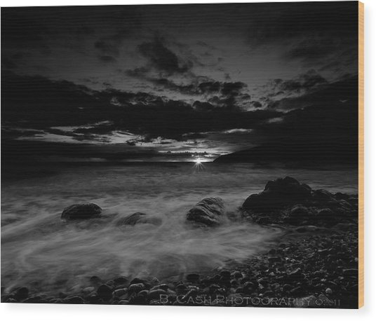 Monochrome Sunset  Wood Print