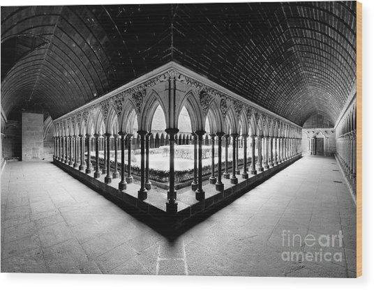 Mont Saint Michel Monastery Inner Court Wood Print