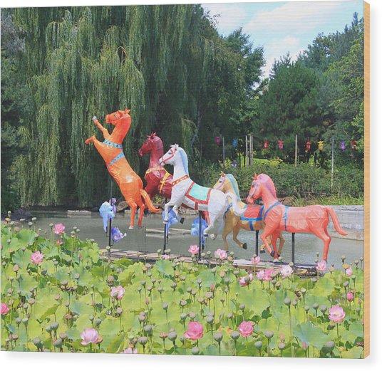 Montreal Botanical Gardens - Chinese Horses Wood Print