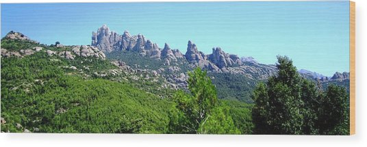 Montserrat Mountain Range Panoramic View Near Barcelona Spain Wood Print