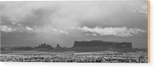 Monument Valley In Snow Panorama Wood Print