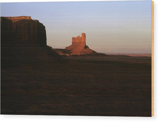 Monument Valley Mitten With Butte Wood Print