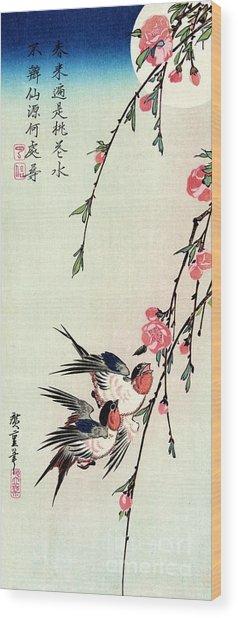 Moon - Swallows - Peach Blossoms Wood Print