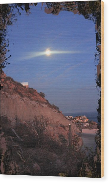 Moon Over Cabo Wood Print