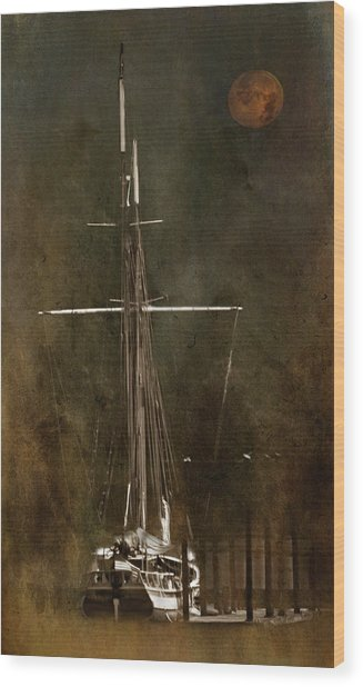 Moon Over Masts Wood Print