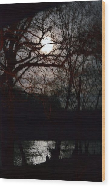Moon Over Maury Wood Print
