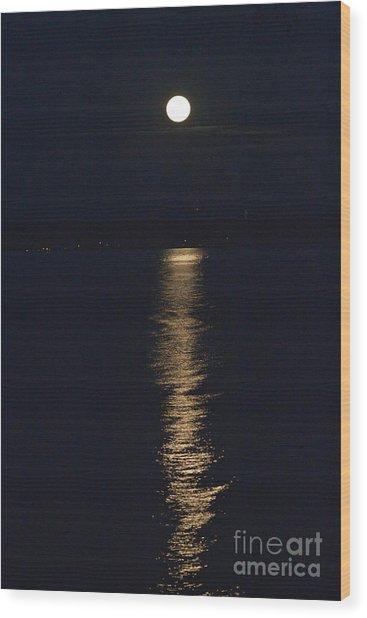Moon Over Seneca Lake Wood Print