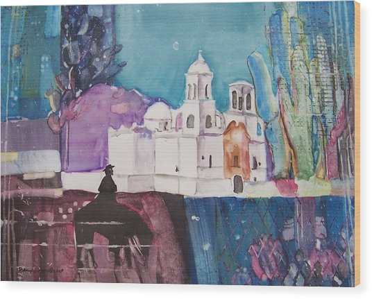 Moon Over The Mission Wood Print by Regina Ammerman