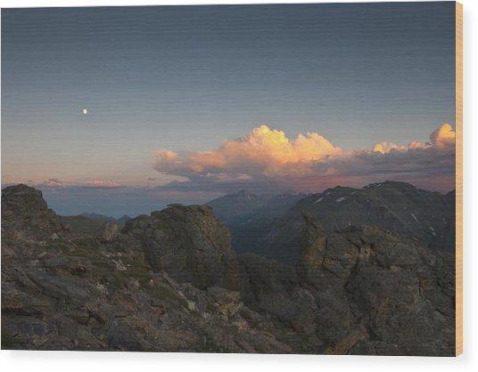 Moon Storm Sunset And Longs Peak Wood Print