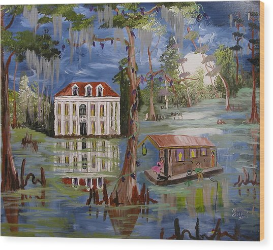 Moonlight And Houseboat Wood Print by Mary Crochet