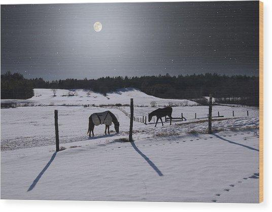 Moonlit Horses Wood Print