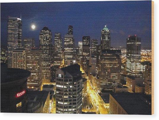 Moonlit Seattle Skyline Wood Print