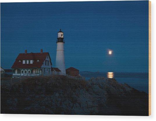 Moonrise At Portland Head Wood Print