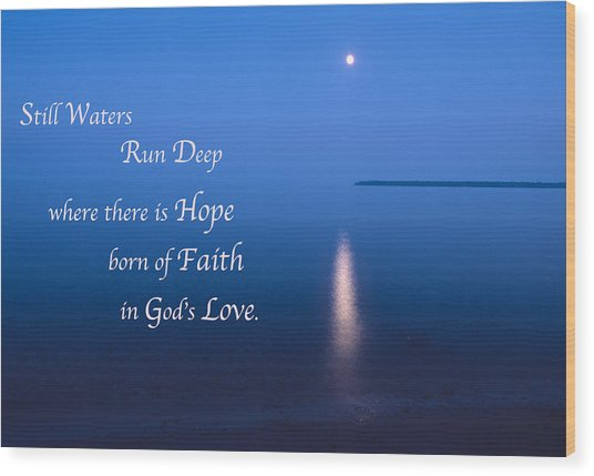 Moonrise On Lake Superior With Quote Wood Print
