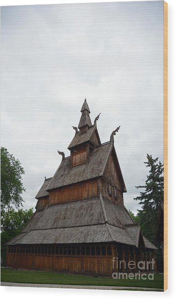 Moorhead Stave Church 26 Wood Print