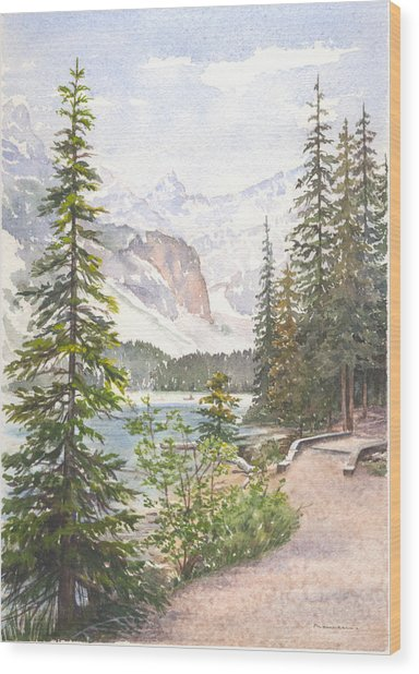 Moraine Lake Wood Print by Maureen Carter