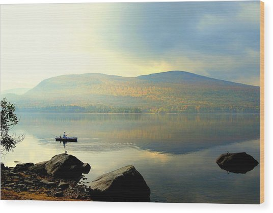Morning Fisherman Wood Print by Marie Fortin