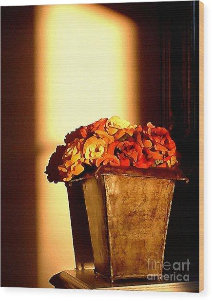 Morning Flowers Wood Print