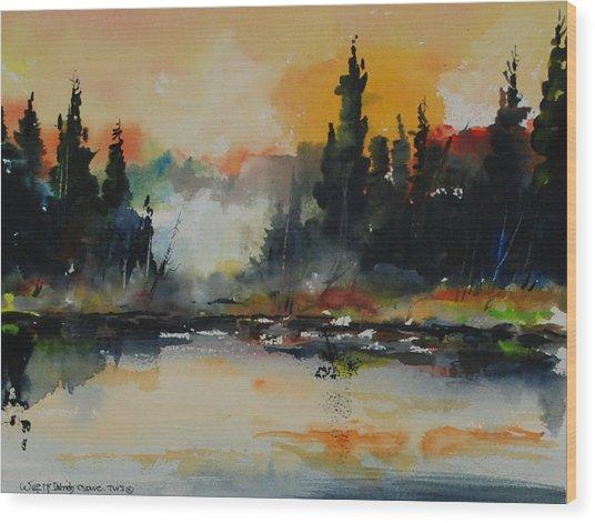 Morning Mists Rising Wood Print