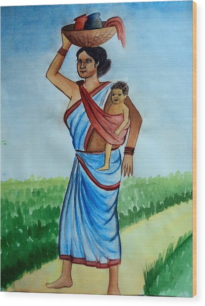 Mother And Child Wood Print by Tanmay Singh
