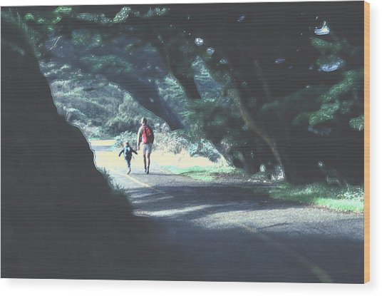 Mother And Child Walking Through Point Reyes Park Wood Print