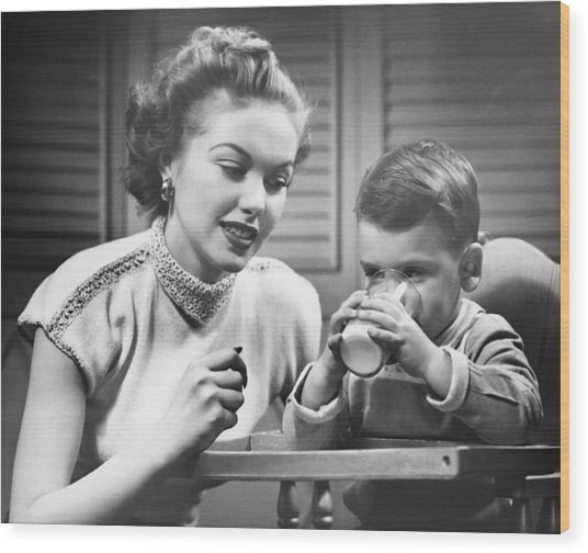 Mother Assisting Son (2-3) Drinking Milk, (b&w) Wood Print by George Marks