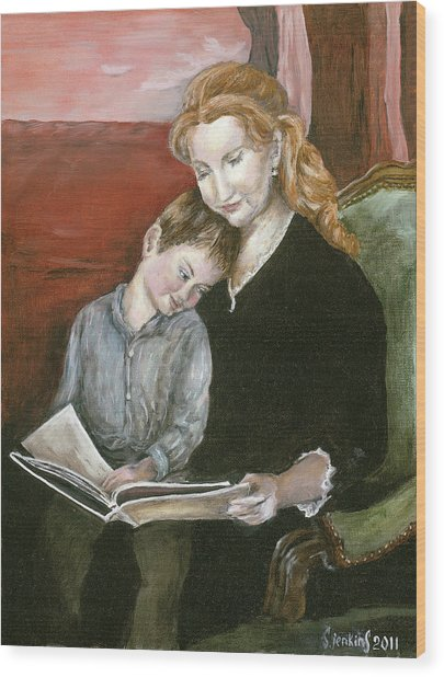 Mother Reading To Son Wood Print