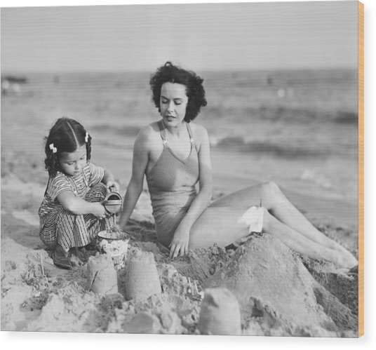 Mother With Girl (2-3) Playing In Sand On Beach, (b&w) Wood Print by George Marks