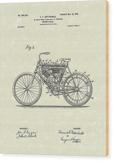 Motorcycle 1901 Patent Art Wood Print