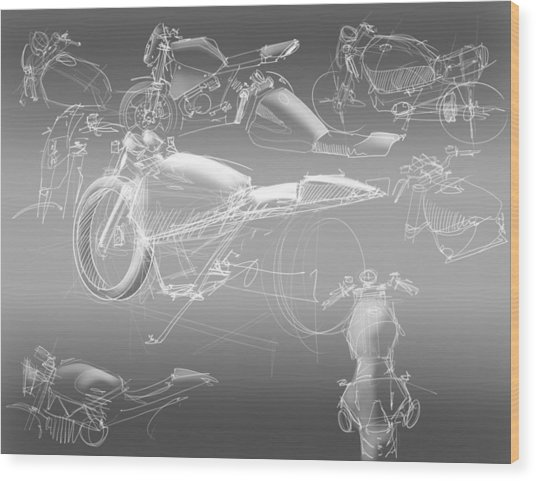 Motorcycle Concept Sketches Wood Print