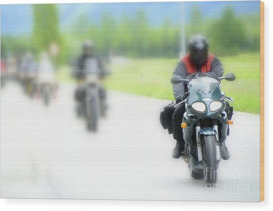 Motorcyclists Wood Print